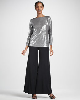 Misook Collection Sequined Top & Palazzo Pants, Women's