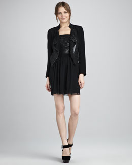 Phoebe Couture Sequined Lapel Jacket & Strapless Dress