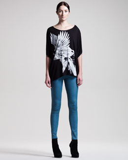 HELMUT Helmut Lang Bird Collage Wide Tee & Gloss-Wash Stretch Leggings