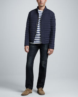 Rag & Bone Chelsea Lightweight Puffer Jacket, Striped Perfect Tee & RB15X Charing Jeans