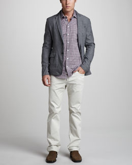 Rag & Bone Phillips Cotton Blazer, Charles Plaid Shirt & RB15X Bone Jeans
