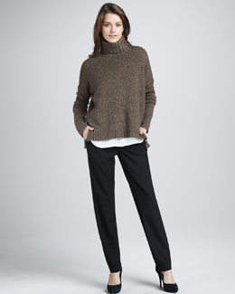 Vince Speckled Turtleneck Sweater, Half-Placket Blouse & Relaxed Pants
