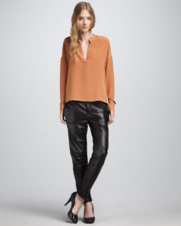 Vince Perforated Blouse & Relaxed Leather Pants