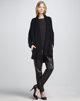 Vince Chunky Cardigan, Pocket Tee & Relaxed Leather Pants