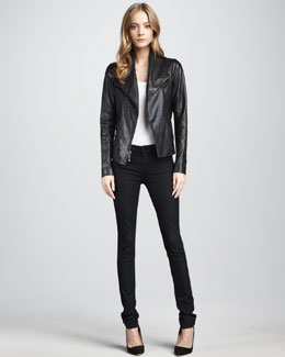 Vince Leather Jacket & Twill Leggings