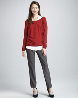 Vince V-Back Cashmere Sweater, Half-Placket Blouse & Side-Strap Trousers