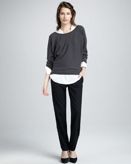 Vince V-Back Cashmere Sweater, Half-Placket Blouse & Relaxed Pants
