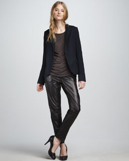 Vince Fitted Blazer, Jersey Tee & Relaxed Leather Pants
