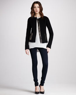 Vince Leather-Pocket Jacket, Bead-Trim Silk Top & Leggings