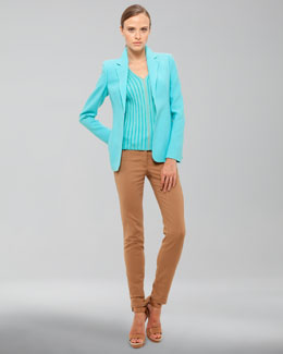 Akris Wool Crepe Jacket, Ribbed Sleeveless Shell & Five-Pocket Skinny Jeans