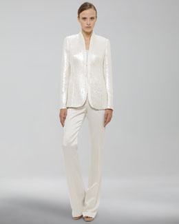 Akris Sequined Jacket, Scoop-Neck Shell & Satin Pants