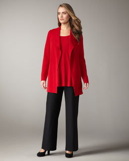 Eileen Fisher Structured Jacket, Silk-Jersey Tank & Wide-Leg Wool Pants, Women's