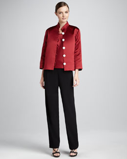 Caroline Rose Satin Pave-Button Jacket, Square-Neck Tank & Crepe Straight-Leg Pants