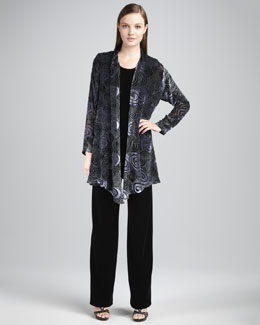 Caroline Rose Burnout Swirl Jacket, Long Velvet Tunic & Stretch Velvet Pants