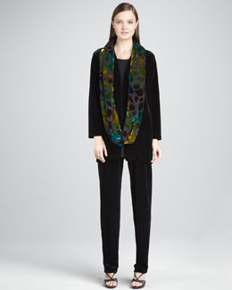 Caroline Rose Long Velvet Jacket, Knit Tunic, Burnout Leaves Scarf & Stretch Velvet Pants