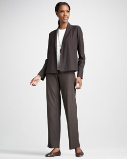 Eileen Fisher Short Stretch-Crepe Jacket, Long-Sleeve Tee & Washable Stretch-Crepe Pants