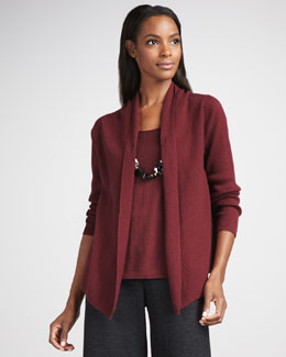 Eileen Fisher Washable-Wool Ribbed Cardigan & Shell, Women's