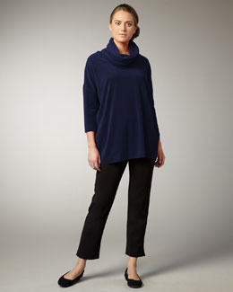 Joan Vass Velour Tunic & Slim Ponte Ankle Pants, Petite
