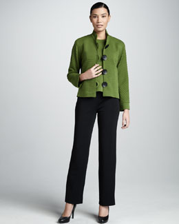 Caroline Rose Ottoman Ribbed Jacket, Crewneck Sweater & Wool Loop-Button Cuff Pants, Women's