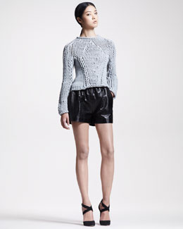 Alexander Wang Seamless Chunky Hand-Knit Sweater & Croc-Embossed Leather Shorts