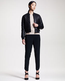 Alexander Wang Quilted Leather Bomber, Bandage-Knit Sweater & Tailored Track Pants