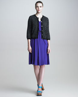 Marc Jacobs Metallic Polka-Dot Cardigan & Pleated Crepe de Chine Dress
