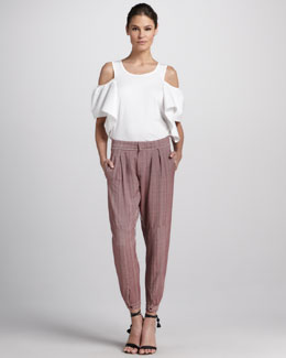 Chloe Cold-Shoulder Cotton Shirt & Pleated Pants with Ankle Snaps