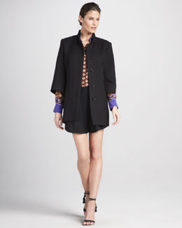 Chloe Three-Quarter-Sleeve Tie-Belt Coat, Bohemian Flower Blouse & Pleated-Front Shorts