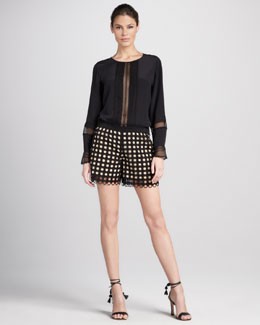 Chloe Lace-Inset Crepe Blouse & Allover Eyelet Shorts