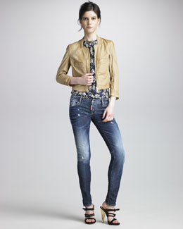 DSquared2 Croisette Perforated Leather Jacket, Printed Silk Top & Gold Brush Super-Slim Jeans