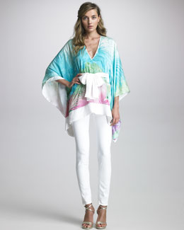 Just Cavalli Printed Caftan & Coated Skinny Jeans