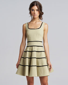 RED Valentino Cropped Cashmere-Silk Cardigan & Striped Tricotine Dress