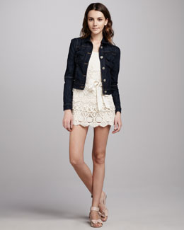 RED Valentino Denim Jacket & Spaghetti-Strap Short Lace Jumpsuit