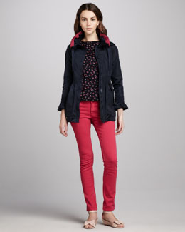 RED Valentino Smocked-Waist Anorak Jacket, Cherry-Print Bow-Neck Top & Slim Jeans