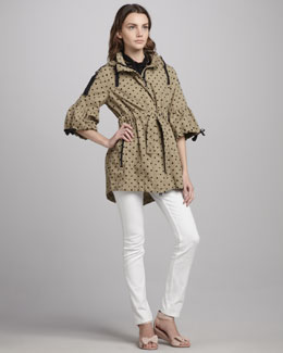 RED Valentino Polka-Dot Anorak, Swiss Dot Tulle-Yoke Tie-Neck Top & Slim Jeans, White