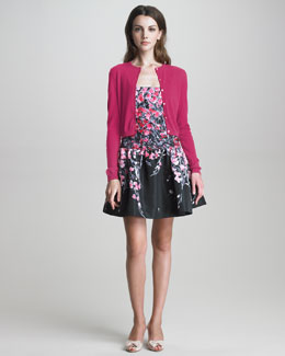 RED Valentino Cropped Cardigan & Square-Neck Drop-Waist Floral Dress
