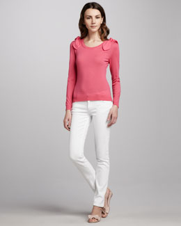 RED Valentino Bow-Shoulder Wool Sweater & Slim Jeans