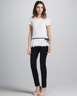 RED Valentino Lace-Bottom Tee & Slim Cropped Gabardine Pants