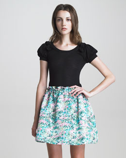 RED Valentino Bow-Shoulder Puff-Sleeve Knit Top & A-Line Floral-Print Skirt