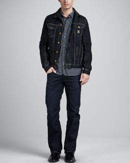 Diesel Elshar Denim Jacket, Check-Print Chambray Shirt & Larkee Relaxed Jeans