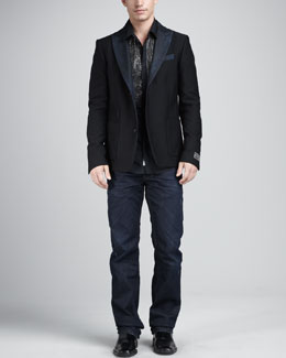 Diesel Juvenal Denim-Lapel Blazer & Sbelens Embellished Shirt