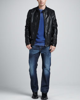 Diesel Lagnum Leather Jacket, Shilling Fleece Sweater & Larkee Whiskered Jeans