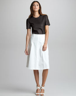 3.1 Phillip Lim Leather Tee & Umbrella-Pleat Skirt