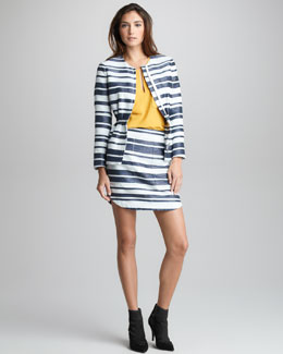 3.1 Phillip Lim Space-Dye Striped Suit & Two-Pocket Silk Blouse