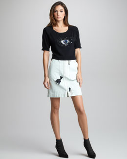 3.1 Phillip Lim Cropped Rhinestone Sweatshirt & Chain/Patchwork-Trim Denim Skirt