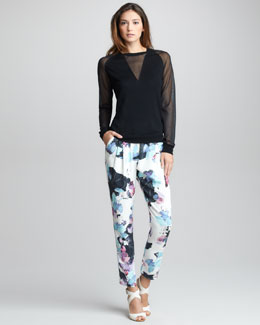 3.1 Phillip Lim Sheer-Trim Merino Pullover & Scrapbook Floral-Print Pants