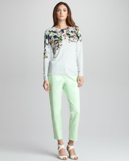 3.1 Phillip Lim Floral-Print Wool Pullover & Bi-Stretch Cropped Pants
