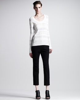 10 Crosby Derek Lam Rib-Trim Scoop-Neck Sweater & Slim Cropped Pants
