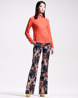 10 Crosby Derek Lam Double-Collar Blouse & Printed Wide-Leg Pants