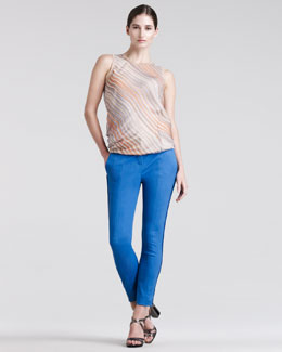 Reed Krakoff Wave-Stripe Chiffon Blouse & Skinny Compact-Canvas Pants